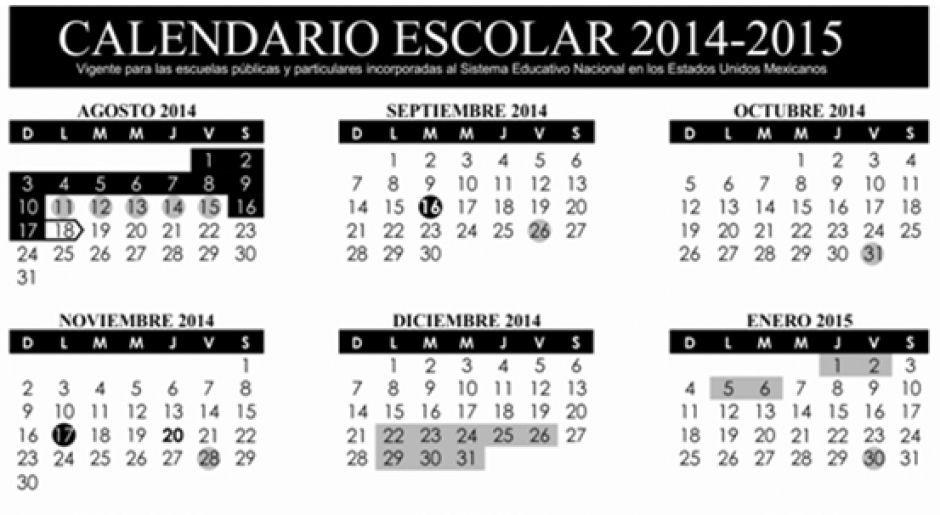 CALENDARIO ESCOLAR SEP 2014-15 PDF