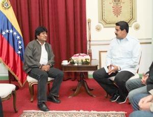 Maduro sostuvo reunión con el presidente Morales en Miraflores