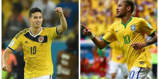 Neymar-James: duelo de estrellas en Brasil-Colombia