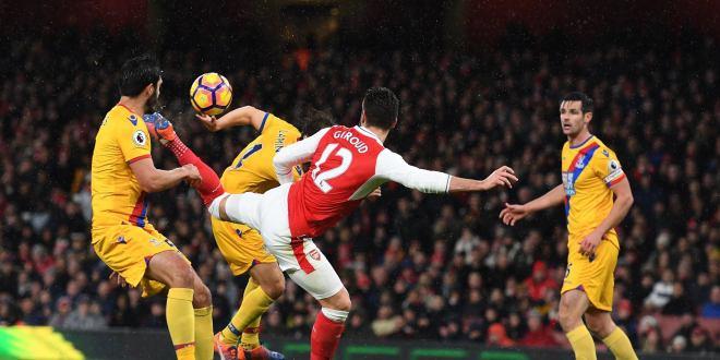 """El """"escorpión"""" Giroud le da triunfo  al Arsenal que ya es tercero en la Premier"""