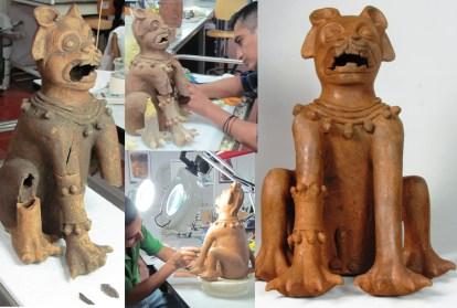 Esculturas felinas encontradas en el sitio Arqueológico Cihuatán en restauración. Foto Diario Co Latino