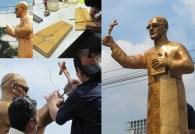 Estatua de Monseñor Romero, que se encuentra en restauración por daños ocasionados debido al medio ambiente y el vandalismo. Foto Diario Co Latino