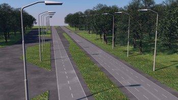 Una muestra de cómo estará instalada la iluminación con tecnología led en la autopista a Comalapa. Foto Diario Co Latino.
