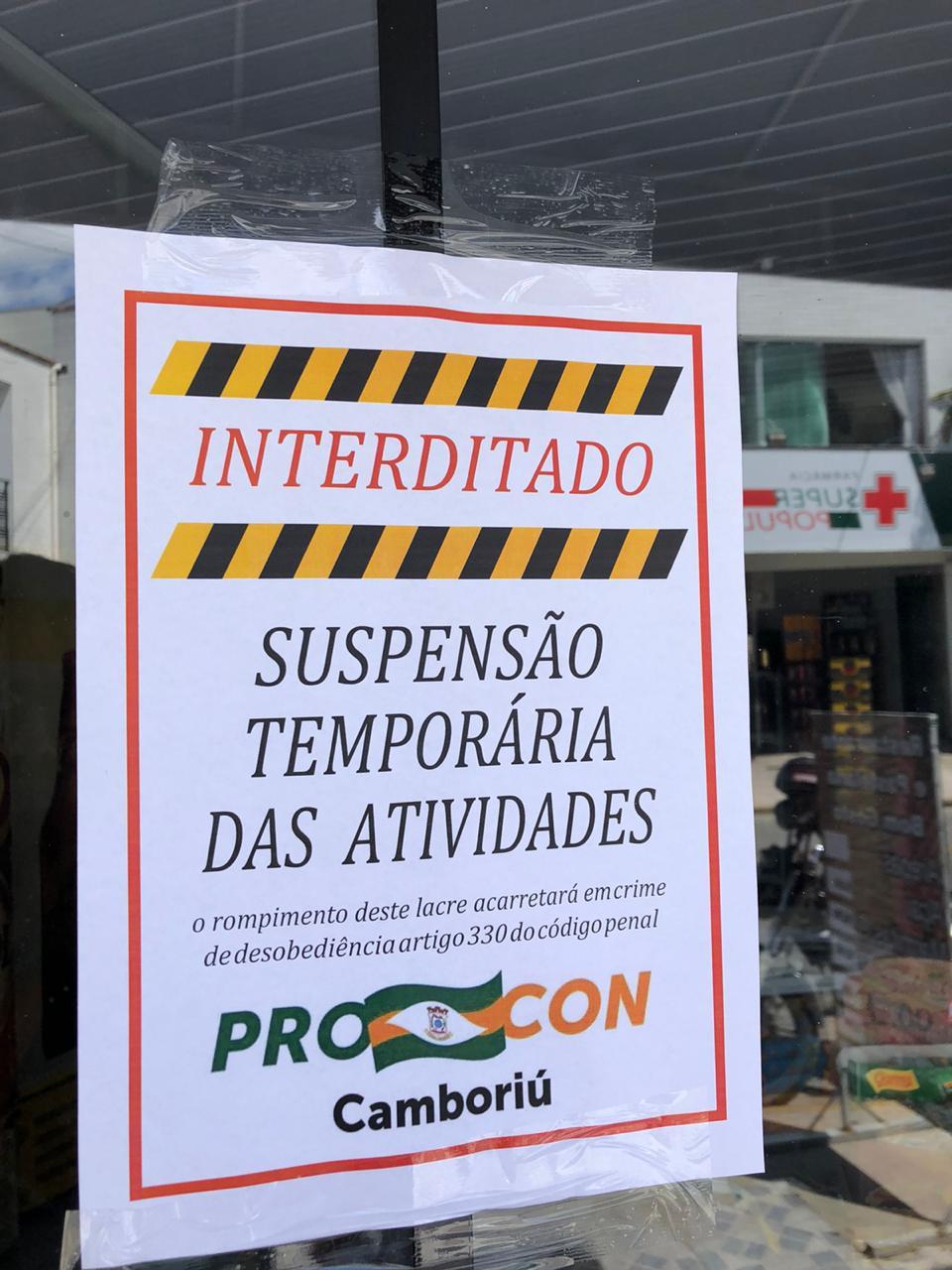 Procon interdita comércio em Camboriú