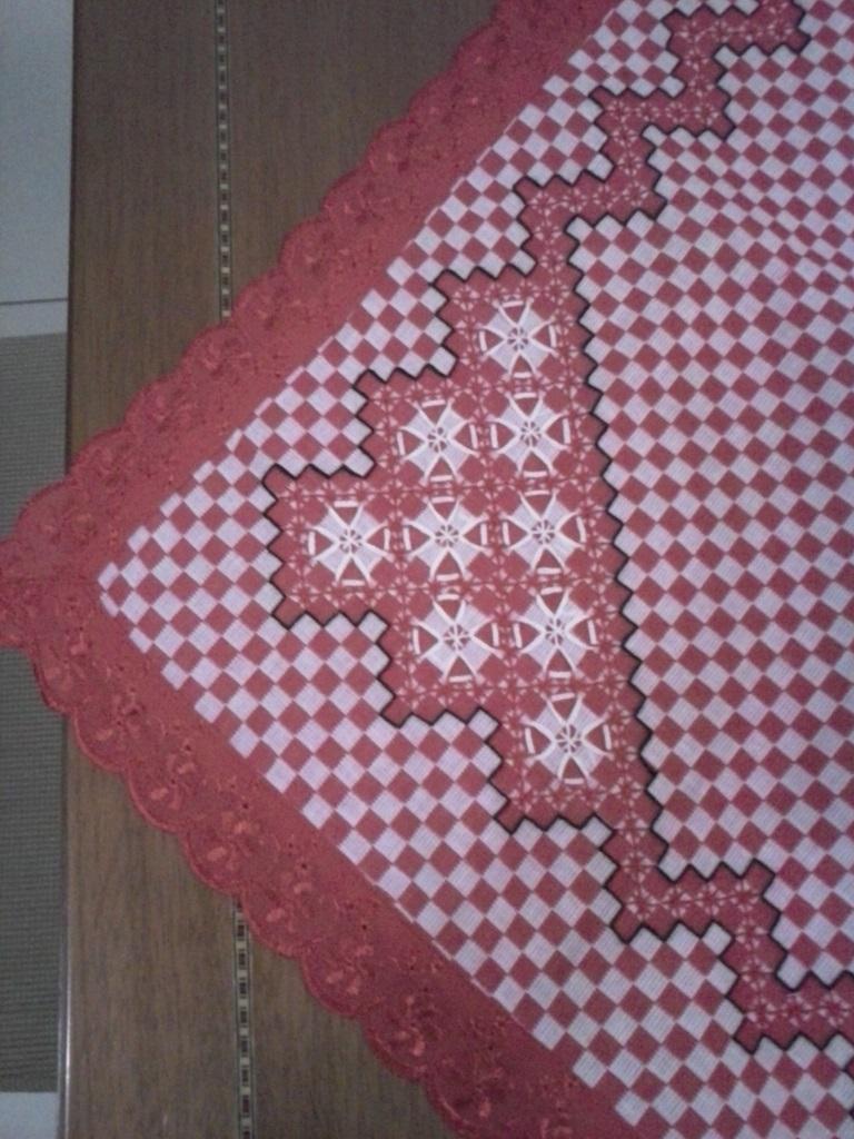 Toalha de mesa bordada no xadrez vermelho  Dirio de Amlia