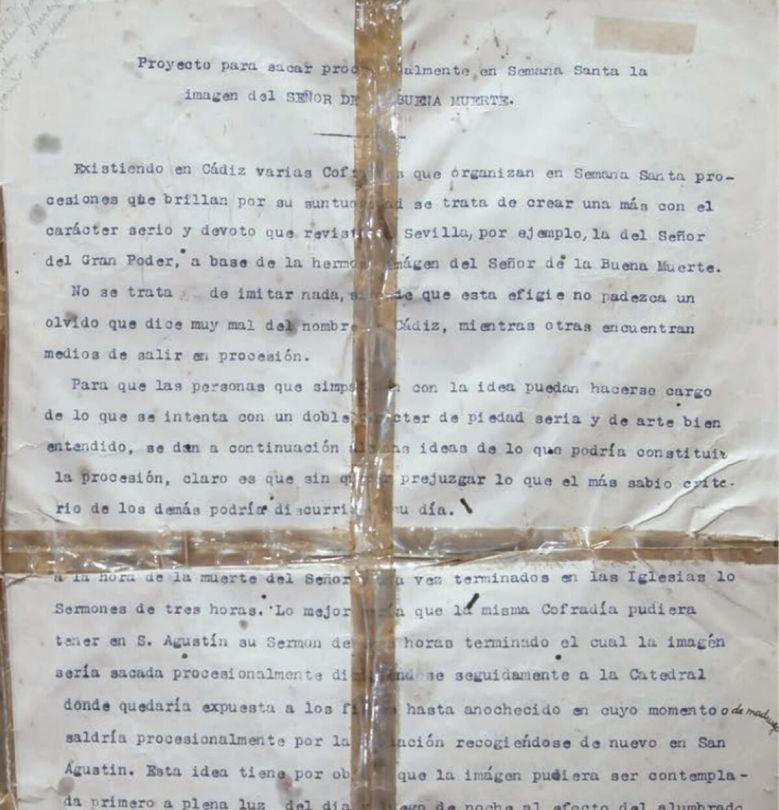 Inicio del documento elaborado en 1921 y enviado al obispo diocesano, Marcial López Criado.