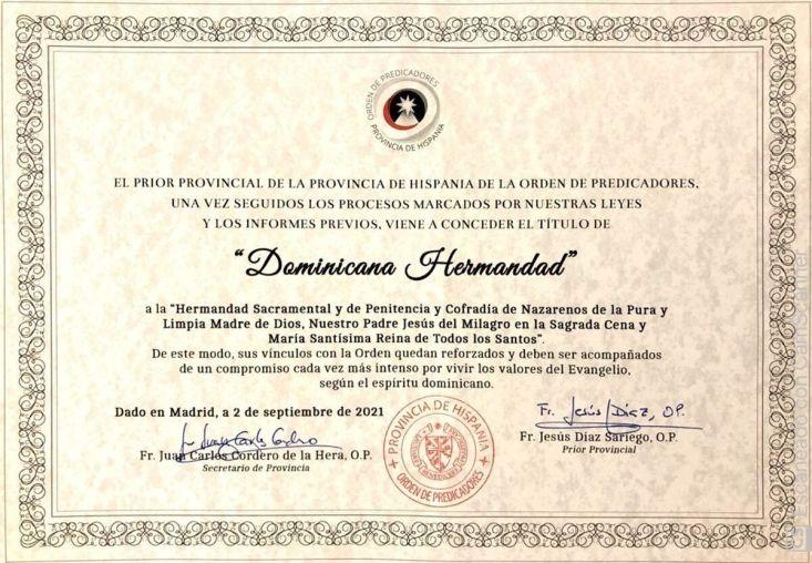 Certificado que acredita la concesión del título de 'Dominicana' a la hermandad de La Cena.