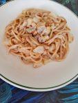 Espaguettis con gorgonzola y pera