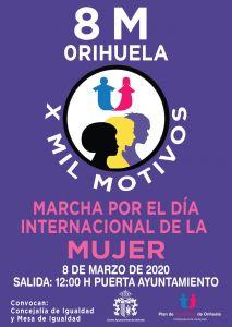 """Orihuela conmemorará este domingo el Día Internacional de la Mujer con la marcha reivindicativa """"X Mil Motivos"""""""