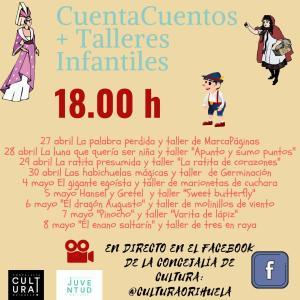 Orihuela pone en marcha cuentacuentos y talleres infantiles en directo a través de su Facebook