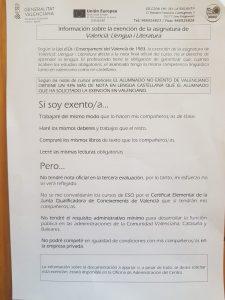 Hablamos Español denuncia las presiones a familias de la Comunidad Valenciana que piden la exención del valenciano