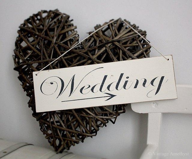 Shabby Chic Vintage Wedding Arrow Sign