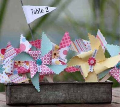 Table numbers with pinwheels