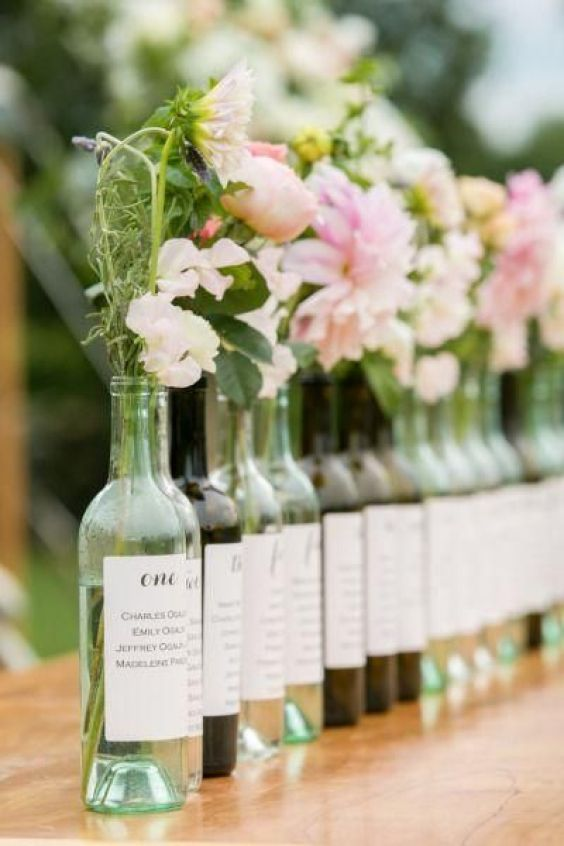 Seating plan con botellas de vino - Propuestas para el Seating Plan!