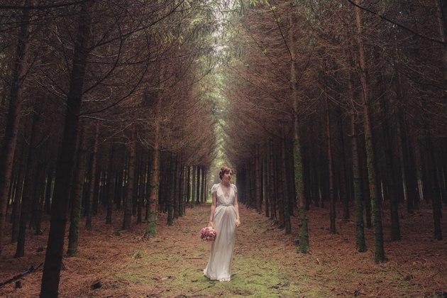 Boda en bosque Bélgica novia
