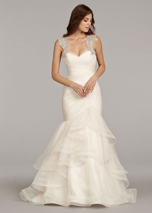 93d90cb2c hayley-paige-bridal-english-net-fit-flare-ruched-horsehair-trim-flounced-alabaster-crystal-keyhole-chapel-6411 zm.jpg
