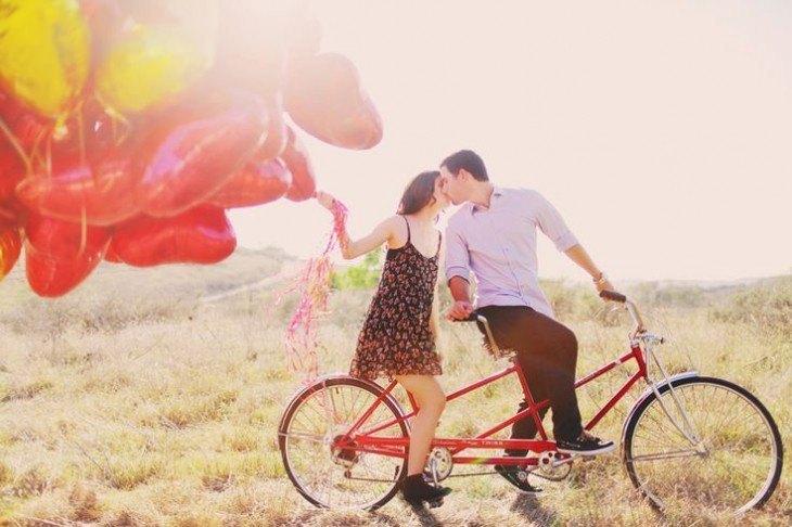 pre boda inspirada en San Valentin bicicleta rojo