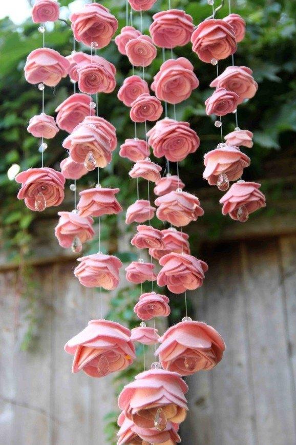 Guirnaldas de flores de tela colgantes