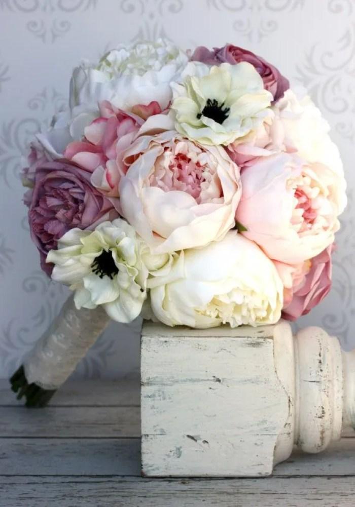 ramos de novia con Peonías tonos pasteles