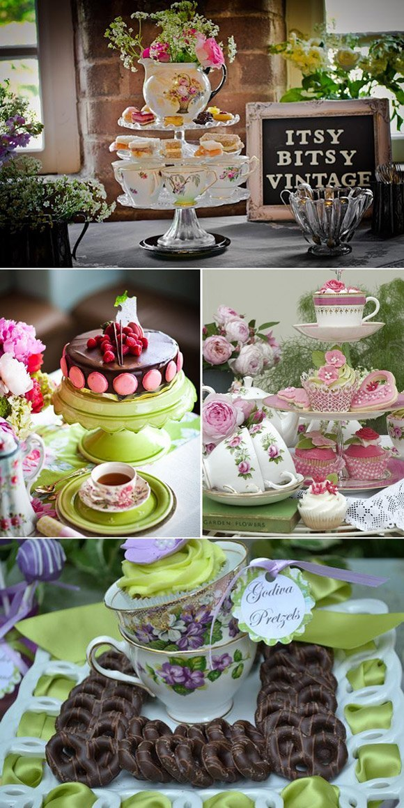 Decorar tu boda con teteras y flores candybar