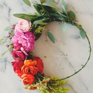 corona de flores damas de honor