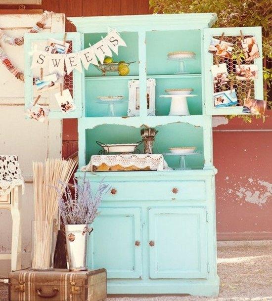decoración de bodas rústicas armario azul - Ideas para la Decoración de Bodas Rústicas