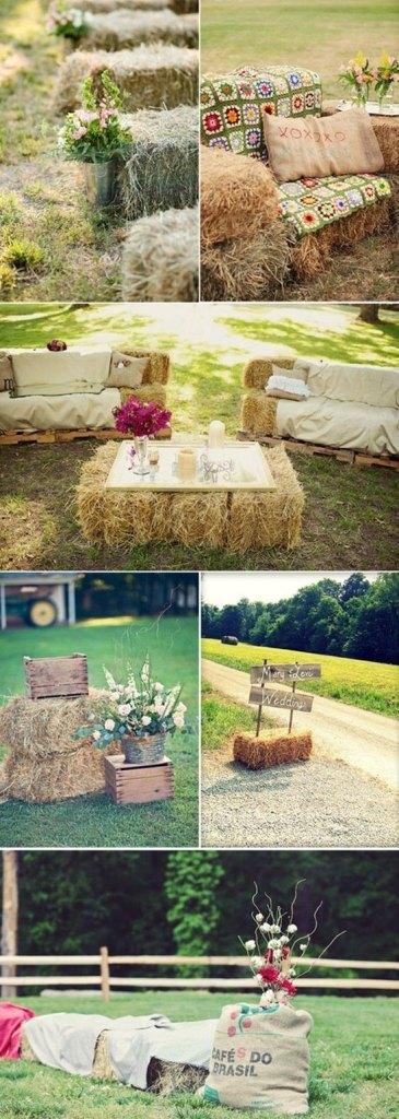 decoración de bodas rusticas alpacas de paja - Ideas para la Decoración de Bodas Rústicas