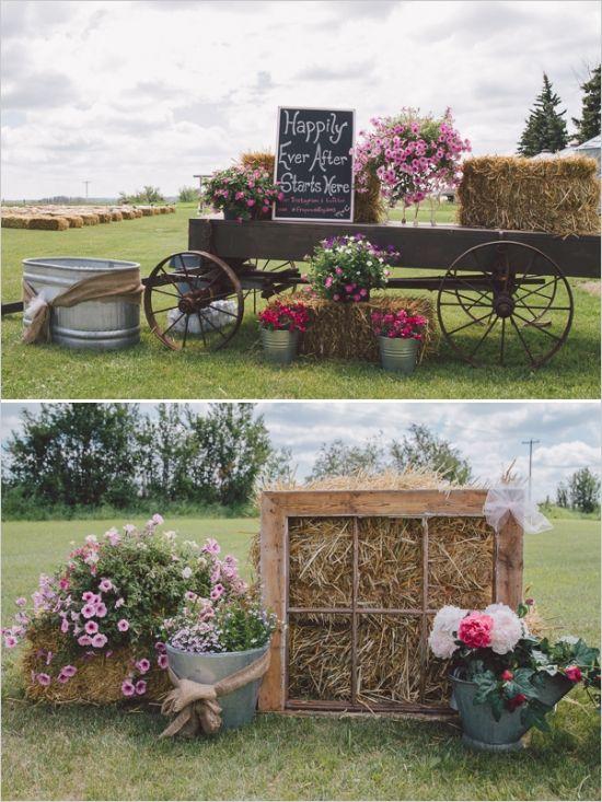 decoración de bodas rusticas balas de paja - Ideas para la Decoración de Bodas Rústicas