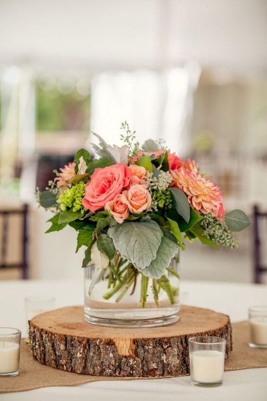 decoración de bodas rusticas centro de mesa - Ideas para la Decoración de Bodas Rústicas