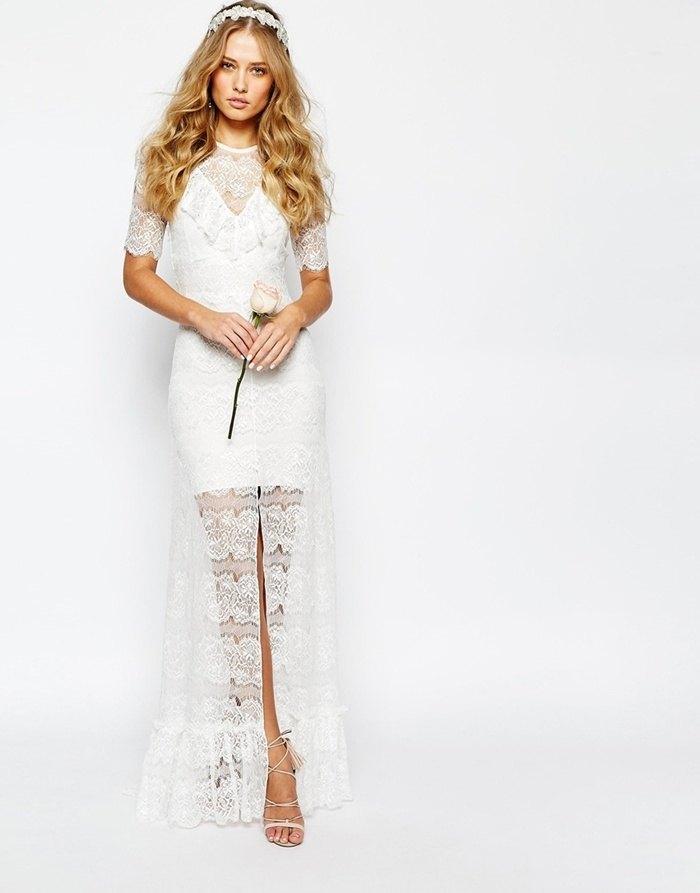 vestido de novia low cost asos semi corto