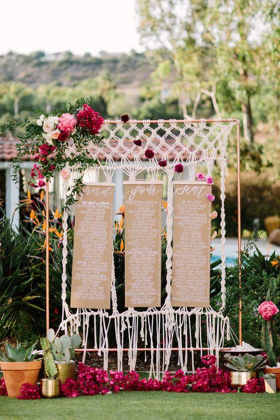seating plan con macrame bodas - Inspiración con Macramé para Bodas Bohemias