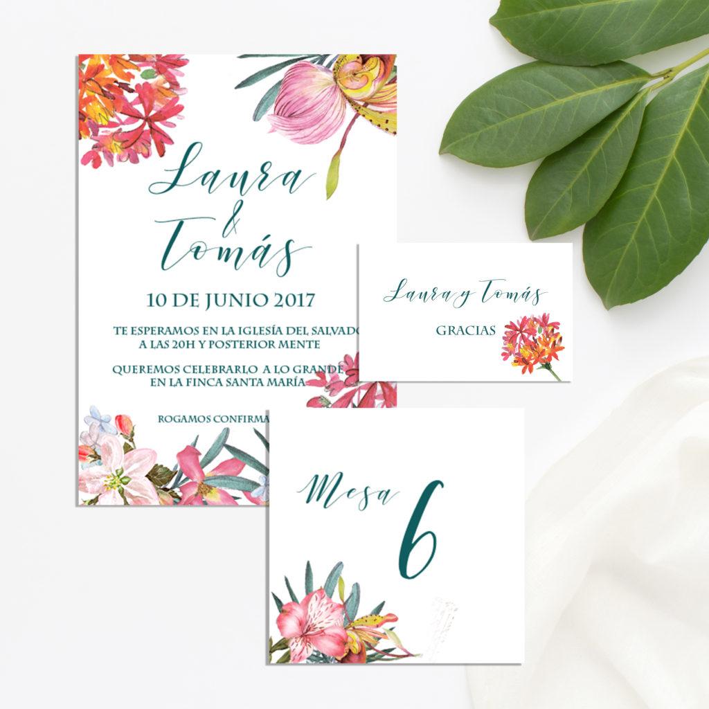 Invitaciónes de boda gratis boda tropical