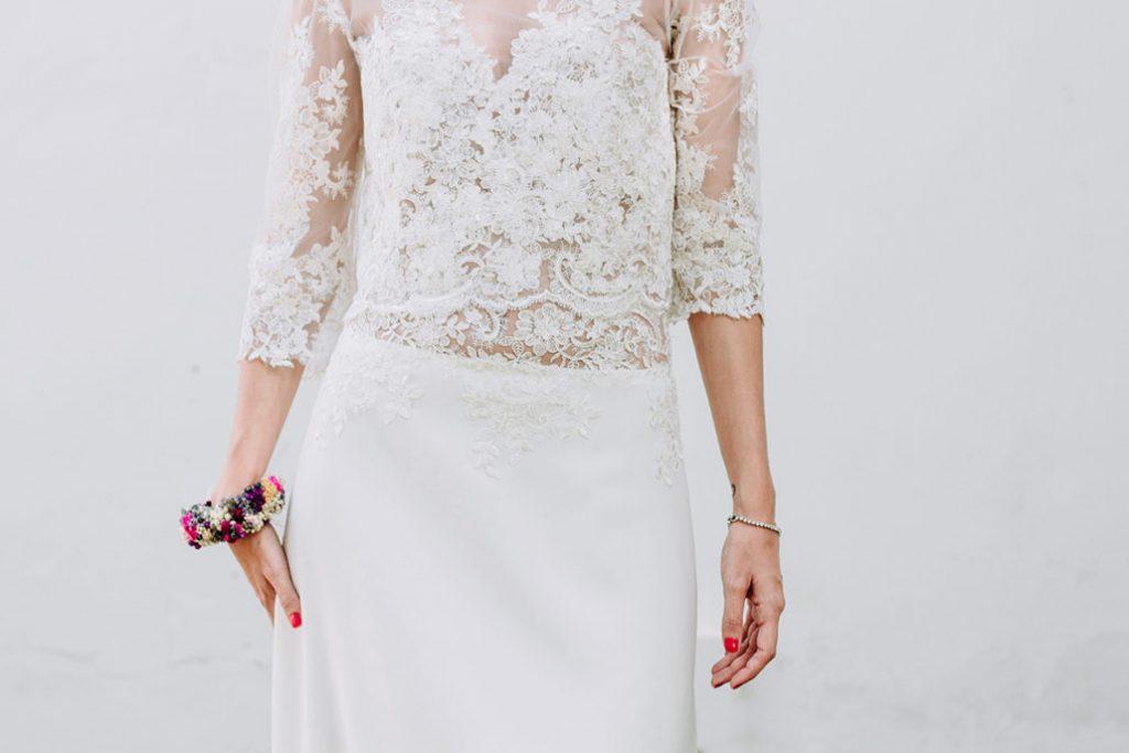 vestido de novia a medida dos piezas