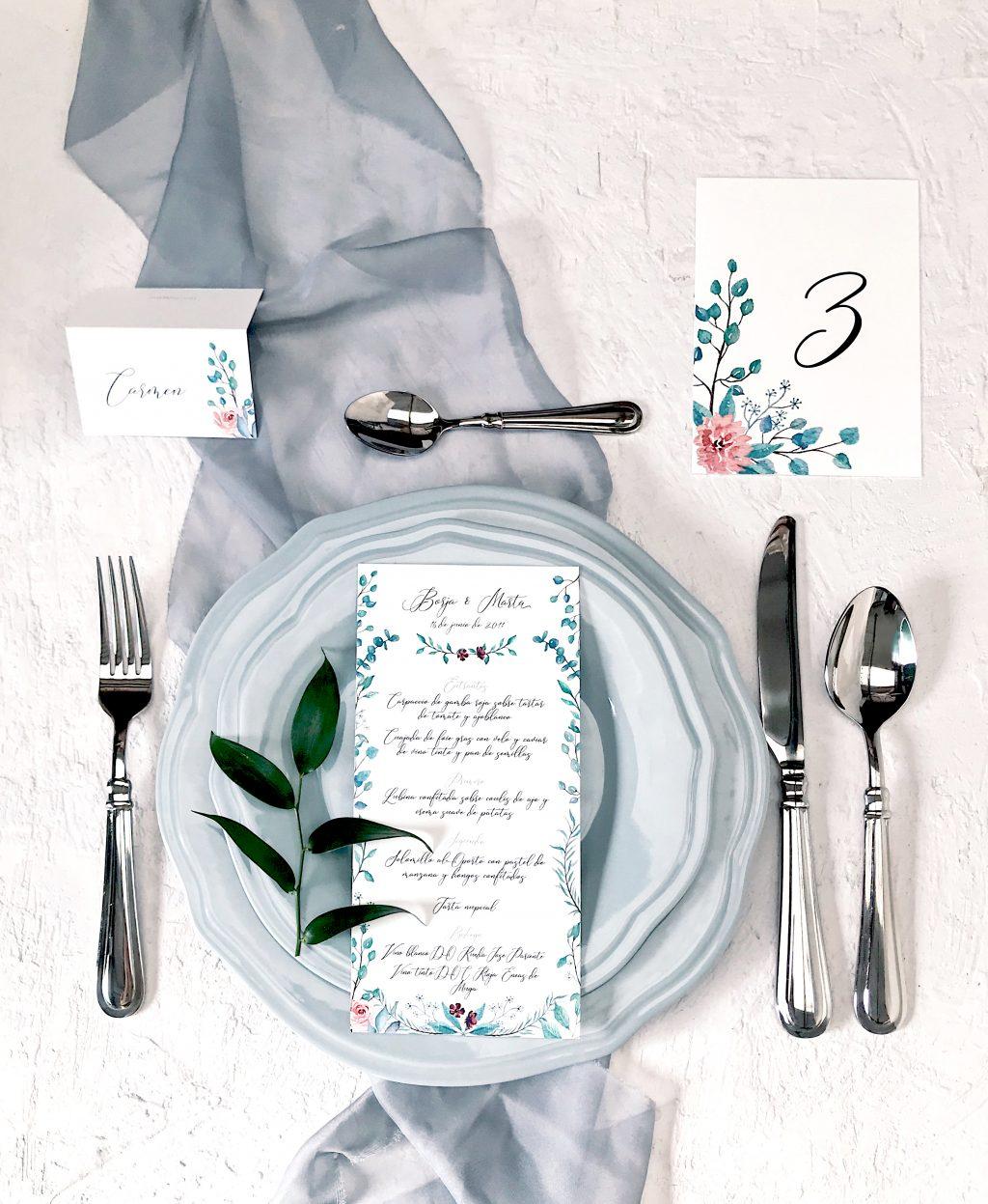 invitacion botanica eucalipto rosas papeleria marmarina - Marmarina, Creadores de Papelería de Alta Calidad