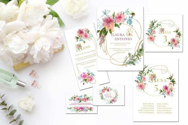 Colección Flower Gold 2019 - Invitación de Boda Flower Gold
