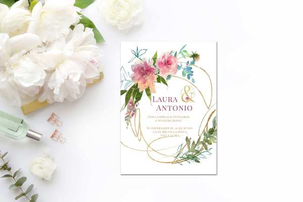 Invitación Flower Gold 2019 - Invitación de Boda Flower Gold