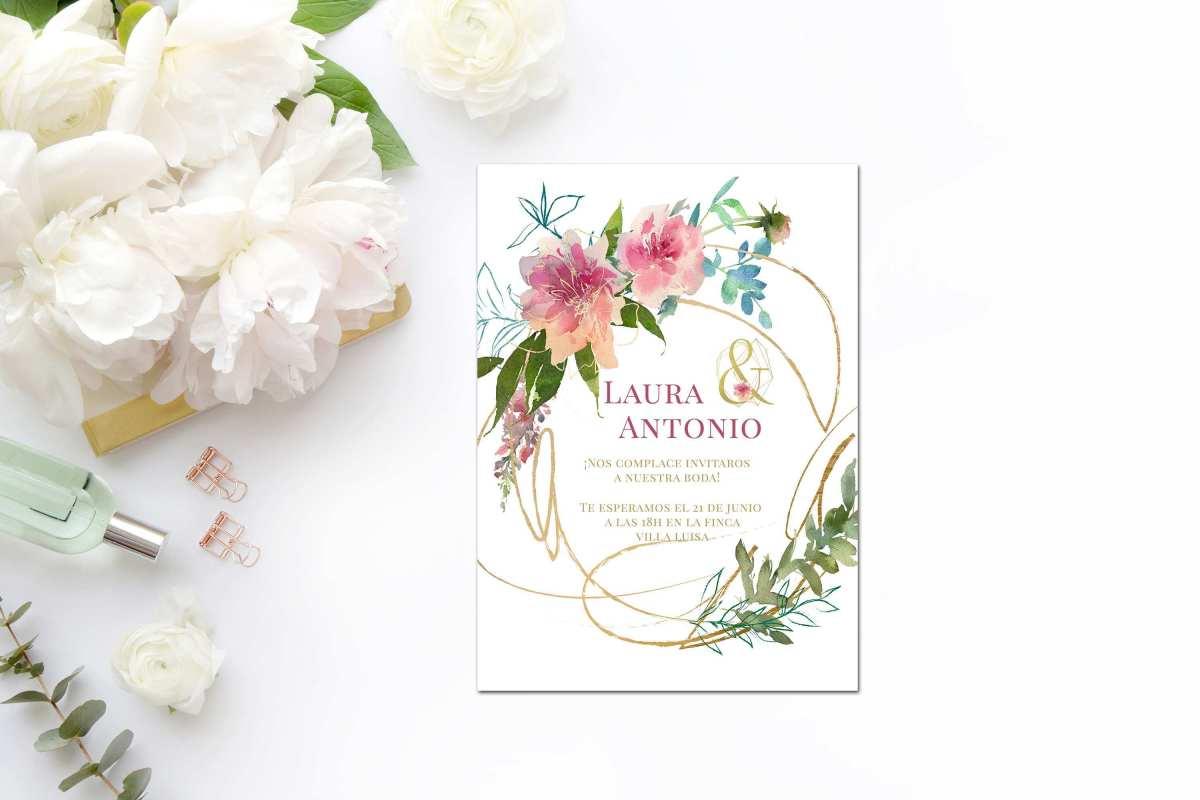 Invitaciónes de boda gratis con flores