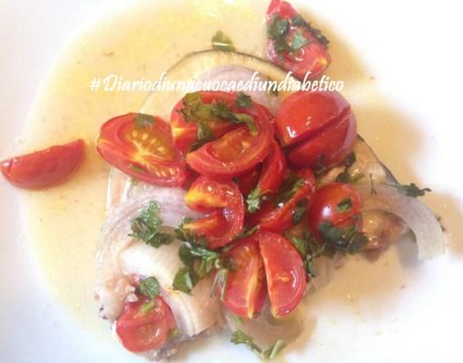 Pesce spada con pomodorini e cipolla