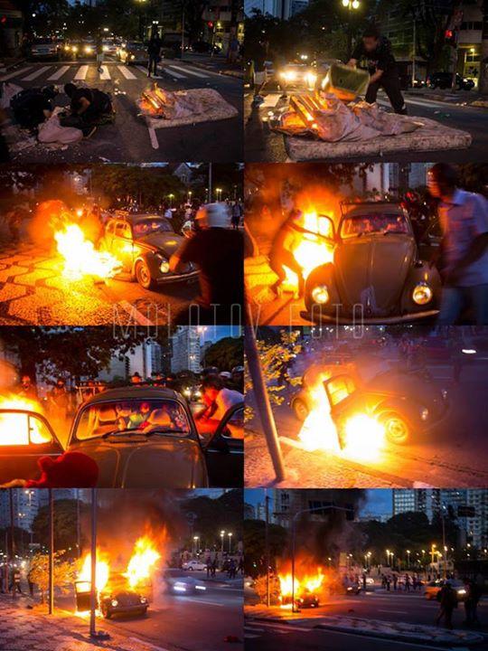 A sequência de fotos divulgada pelos manifestantes