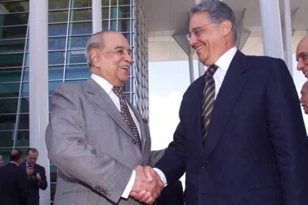 Os companheiros Roberto Marinho e FHC