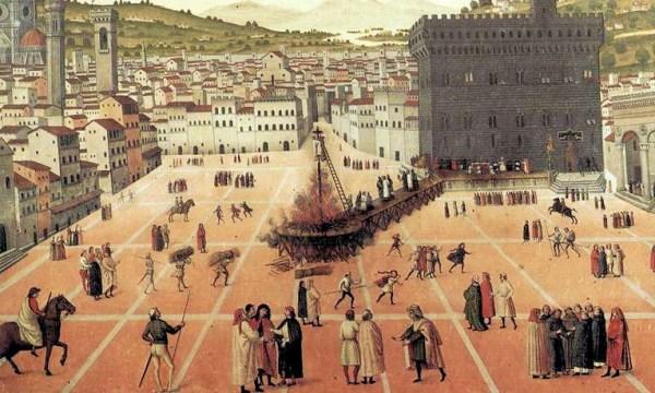 O martírio de Savonarola na Piazza della Signoria, em Florença