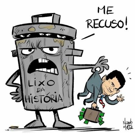 Charge: Nem a lata de lixo quer Moro. Por Nando Motta