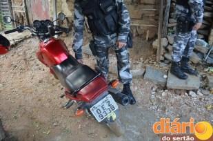 Moto apreendida pela Polícia Militar