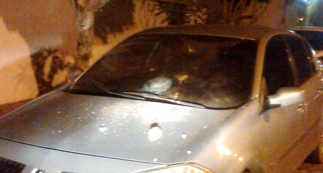 Carros foram danificados nas proximidades do Xamegão em Cajazeiras