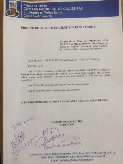 Projeto de Decreto aprovado pelos vereadores