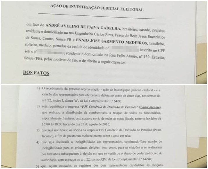 Advogados protocolam ação de investigação eleitoral contra André e Ênio