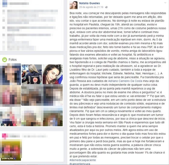 Médica publicou reportagem no Facebook (foto: reprodução)