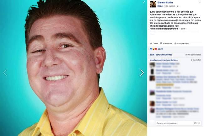 Elismar Cunha candidato a vereador em Bela Vista de Goiás (GO) (Foto: Reprodução/Facebook)