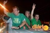 Os candidatos seguiram em carreata após a vitória (Foto: Reprodução/ Jefferson Emmanuel)