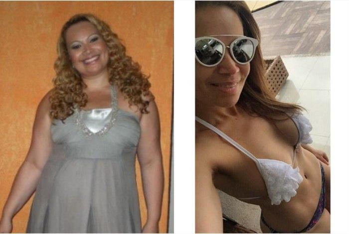Antes e depois de Solange Almeida: 55 kg a menos (Foto: Reprodução Internet)